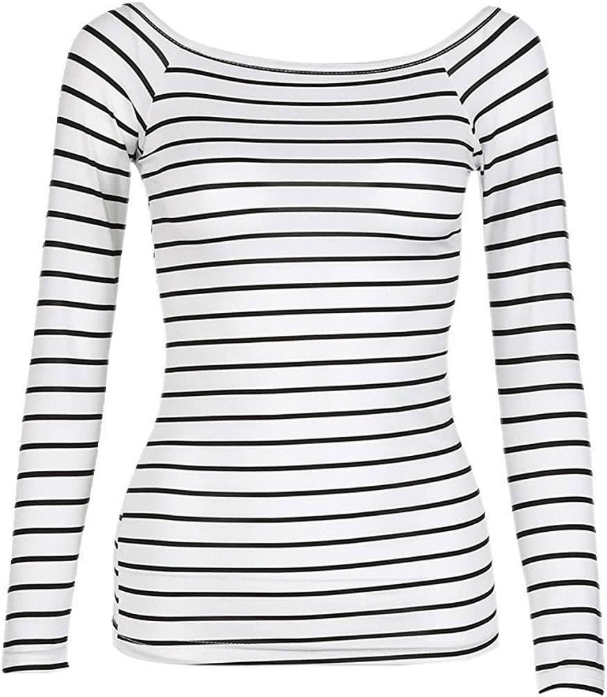 Twgone Striped Long Sleeve Shirt Women Black And White Slim Round Neck Bottoming Blouse Tops At Amazon Women S Clothing Store