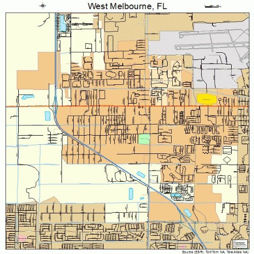 Large Street & Road Map of West Melbourne, Florida FL - Printed poster size wall atlas of your home - Fl West Melbourne