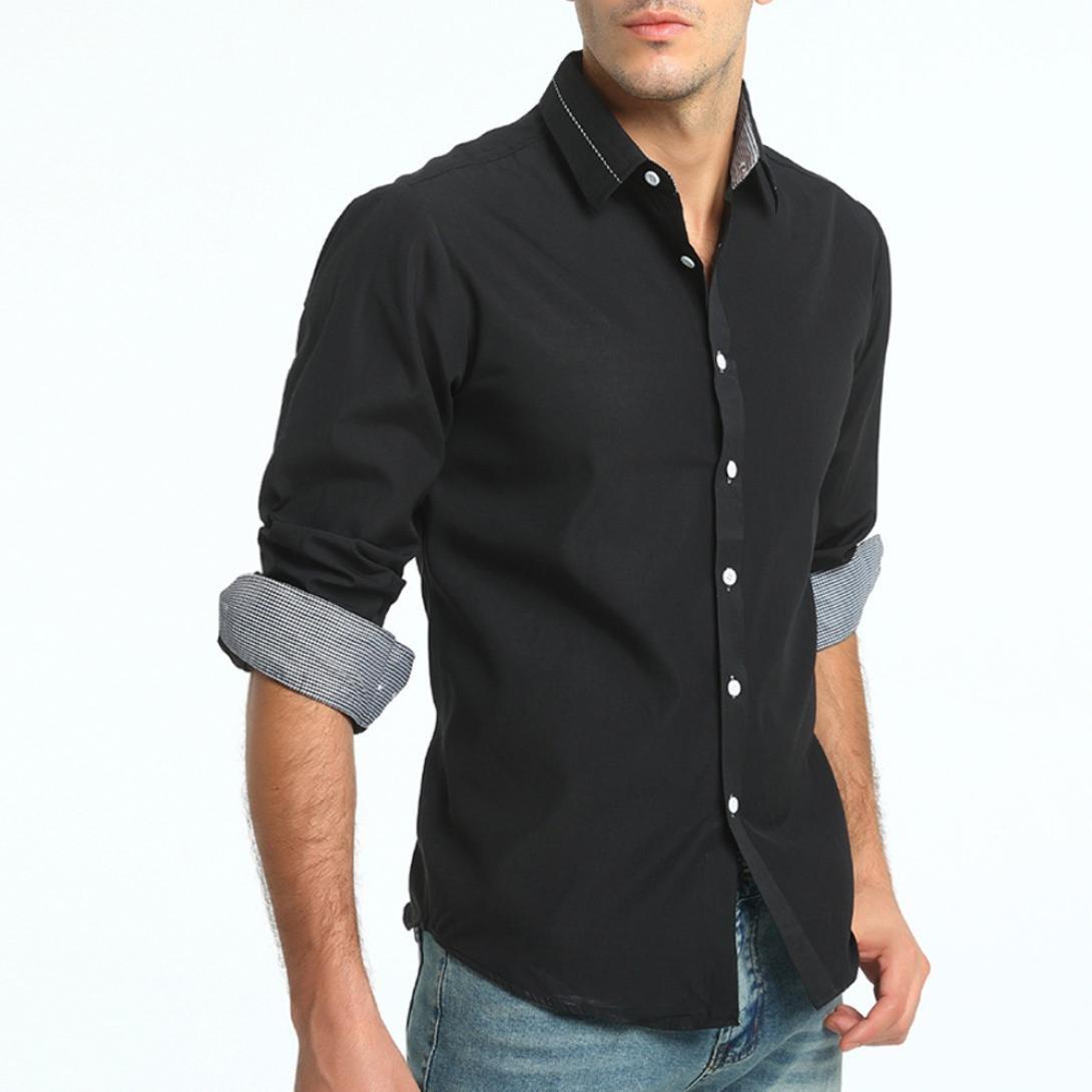 OWMEOT Men's Fashion Slim Fit Dress Shirt Casual Shirt (Black, L)