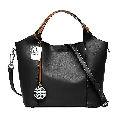 ce686bb41962 Yoome Women s Large Capacity Cowhide Genuine Leather Purse Handbag  Crossbody Shoulder Bag - Black