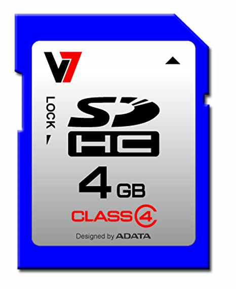 V7 SDHC 4GB Class 4 - Tarjeta de Memoria (4 GB, Secure Digital High-Capacity (SDHC), 4 MB/s, CE, FCC, RoHS, WEEE, 2.7-3.6V)