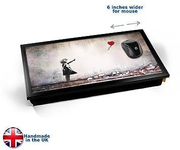 Amazon.com: Banksy globo de corazón bandeja para portátil ...