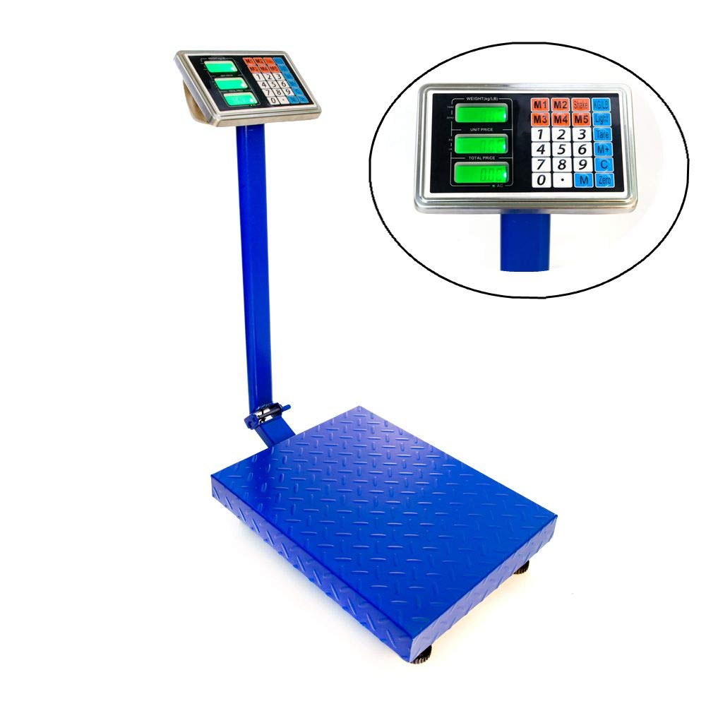 Goujxcy 300KG/661lbs Weight Electronic Platform Scale Digital Heavy Duty Shipping and Folding Postal Scale with 15.75 x 21.65'' Durable Large Platform,Industrial Grade Bench Scale (Blue)