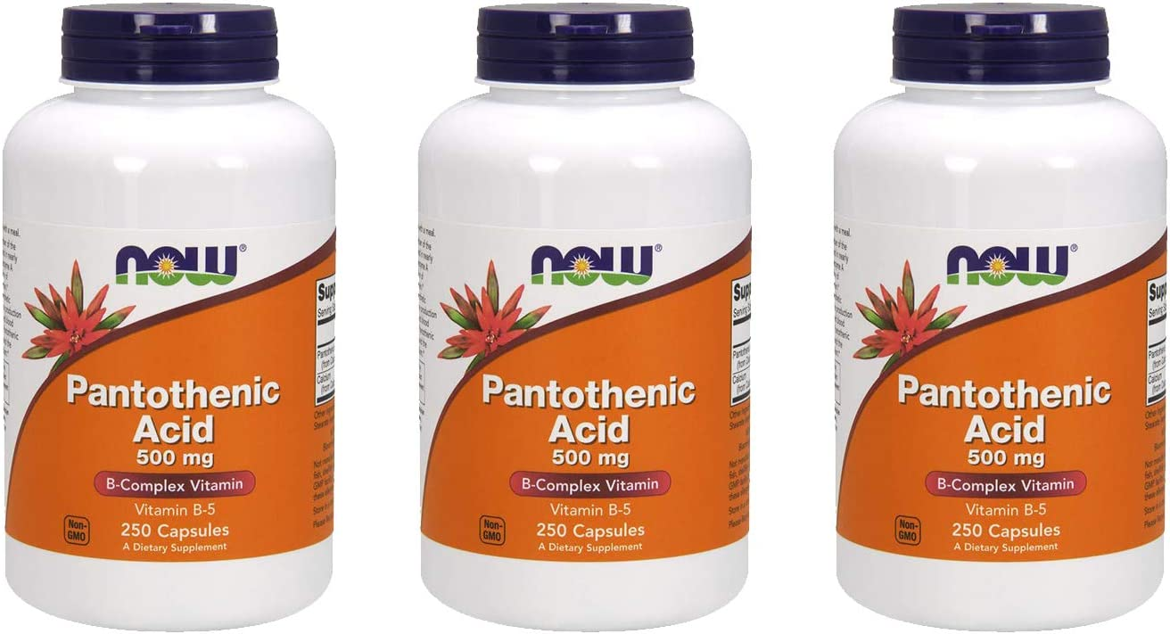 Now Foods Pantothenic Acid 500mg 250 caps (Pack of 3)