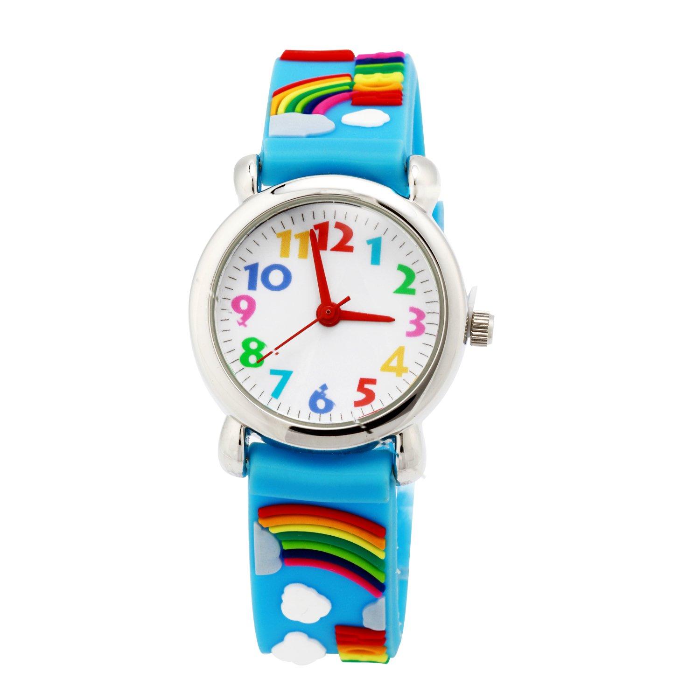 ELEOPTION 3D Cute Cartoon Quartz Watch Wristwatches with Silicone Band Time Teacher for Little Girls Boy Kids Children Gift (Rainbow-Blue)