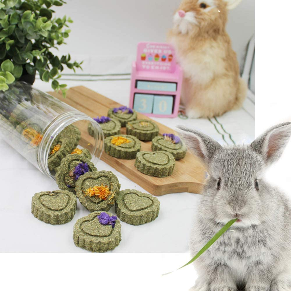 Natural Pet Treats Toys Handmade Grass Cakes for Bunny Chinchilla Guinea Pig Hamster Squirrels kathson Rabbit Chewing Toys for Teeth 1 Bottle Grass Cake