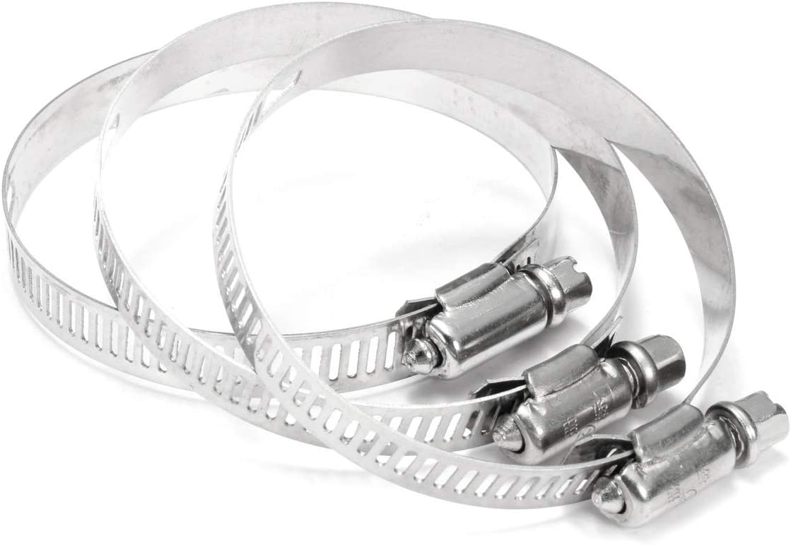 8 Pieces Of Stainless Steel Hose Clamp Size : 64 76mm Small Clamping Range Durable Anti-oxidation Through Hole Structure Fuel Hose Clamp Reusable