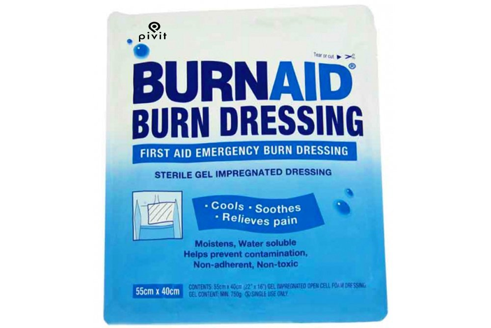 Pivit Sterile Burn Relief Dressings | 4'' x 4'' | Pack of 5 | Instant Cooling & Pain Relief Technology Promotes Faster Healing | Scientifically Formulated Gel Cools Soothes & Protects | Non-Stick Design