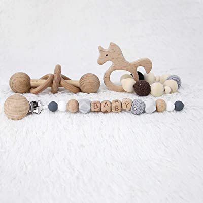 Wood Baby Rattle - Montessori Inspired Rattle for Babies Perfect Grasping Teething Toy for Toddlers Baby Teething Bracelet Crochet Beads Bracelet and Pacifier Clips Chewable Montessori Toy Shower Gift: Toys & Games