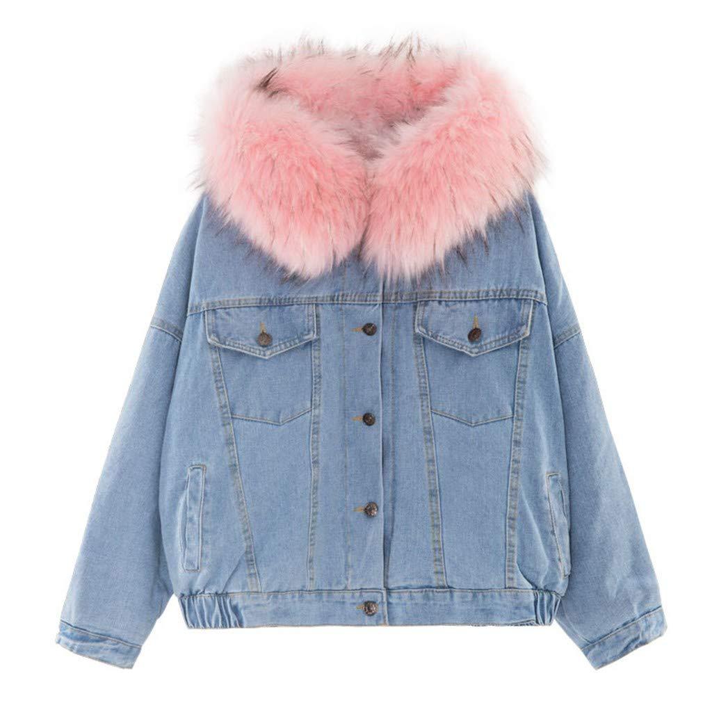 HOSOMEWomen Warm Denim Short Coat Fur Collar Jacket Slim Winter Hooded Outwear Coats