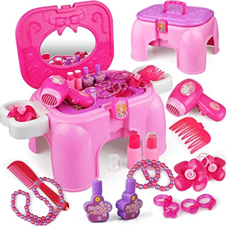 Tocador de maquillaje glamour para niñas Juego De Mesa For Tocador Fantasy Vanity Beauty For Niños