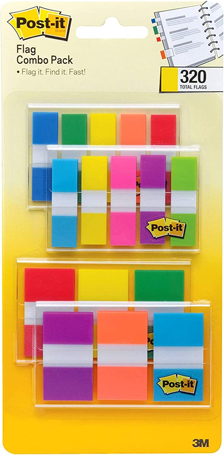 Post-it Flags Assorted Color Combo Pack, 320 Flags Total, 200 1-Inch Wide Flags and 120 .5-Inch Wide Flags, 4 On-The-Go Dispensers/Pack (683XL1) : Office Products