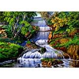 #9: DIY 5D Diamond Painting by Number Kits, Full Drill Crystal Rhinestone Embroidery Pictures Arts Craft for Home Wall Decor Gift,Waterfall Creek