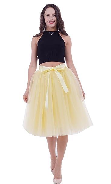 SCFL falda de tutú de las mujeres Midi Tulle faldas 7 capas de falda de  falda de Underskirt con el cinturón elástico para el banquete de boda   Amazon.es  ... 0df230f3539b