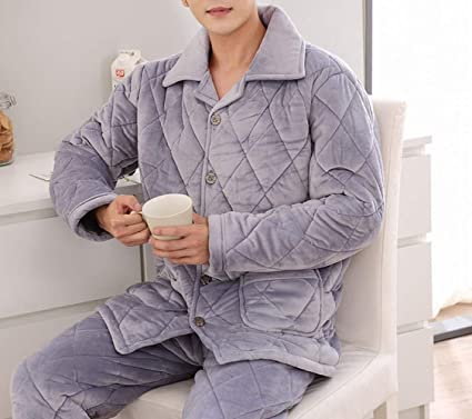 4ca2aa7941 CWJ Pajamas - Autumn and Winter Men s Water Velvet Quilted Pajamas  Thickening Plus Velvet Warm Coral