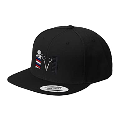 79972420f9b43 Image Unavailable. Image not available for. Color  Speedy Pros Barber Logo  Embroidered Flat Visor Snapback Hat Black
