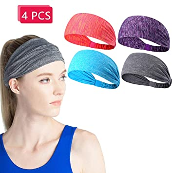 Amazon Com 4 Pack Sport Yoga Headbands For Women And Men Elastic