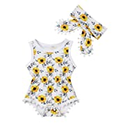 Newborn Kids Baby Girls Clothes Floral Jumpsuit Romper Playsuit + Headband Outfits (0-6 Months, Yellow 2)