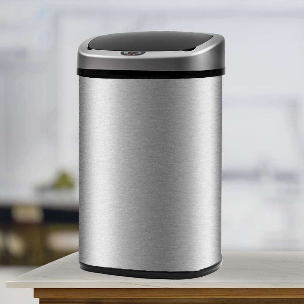 Details about New 13-Gallon Touch-Free Sensor Automatic Stainless-Steel  Trash Can Kitchen 50R