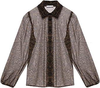 Motivi : Camisa de Tul Estampado de Flores Marrón 40 (Italian Size): Amazon.es: Ropa y accesorios