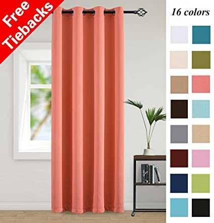 Yakamok Blackout Curtains For Living Room 63 Inches Length Bedroom Light  Blocking Window Curtains Triple Weave