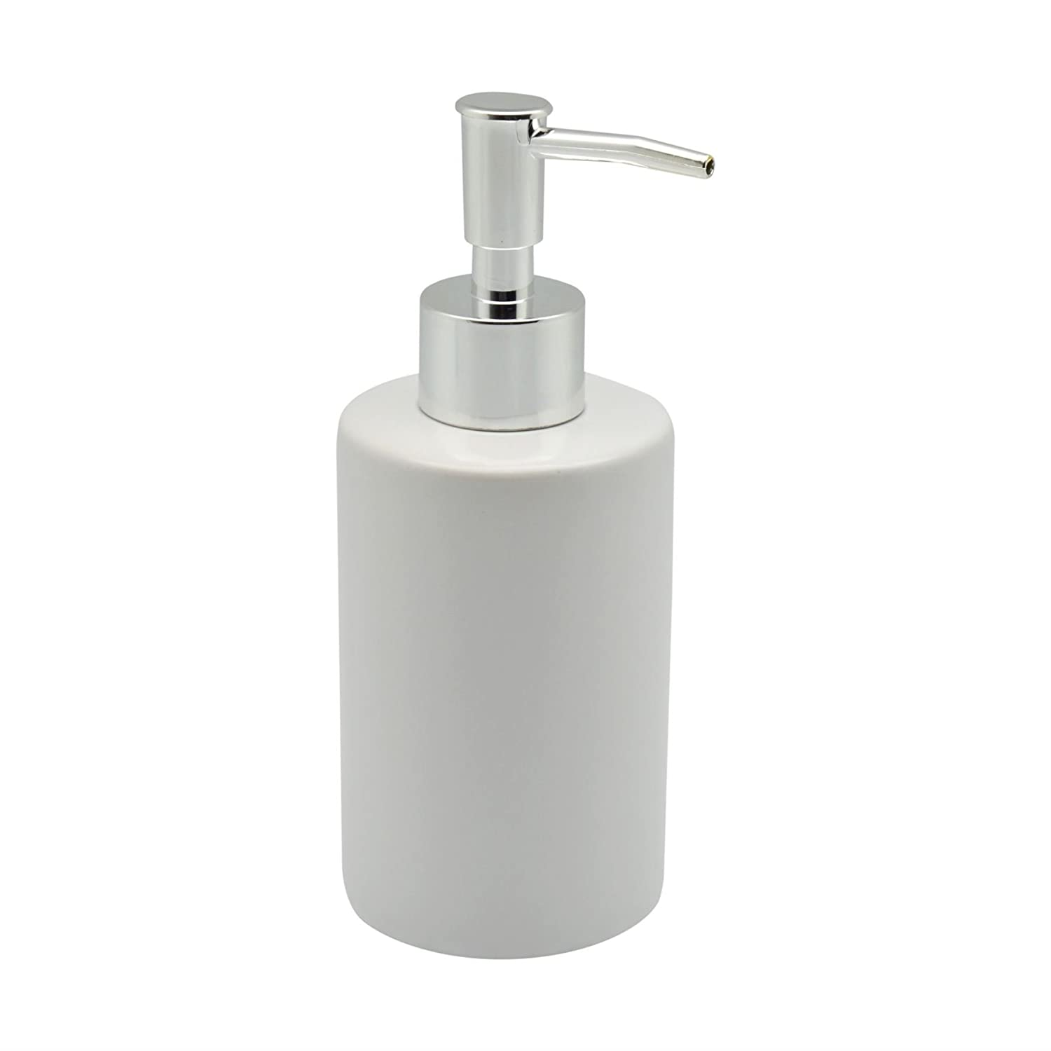 Harbour Housewares Glazed White Ceramic Soap Pump Dispenser, 280ml