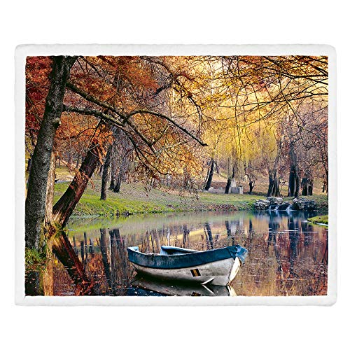 (Fassbel Sherpa Throw Blanket Digital Printing Reversible Super Soft Lightweight Blanket Warm Microfiber All Season Blanket for Bed or Couch(50
