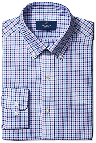BUTTONED DOWN Men's Classic Fit Buttoned-Collar Tatersol Non-Iron Dress Shirt, Purple/Blue/Navy Shepherd Check 15 35