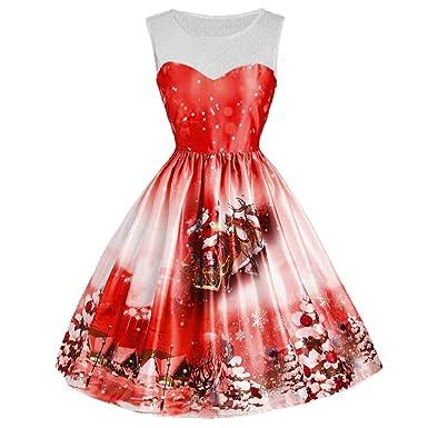 ab5b7325b88 Amazon.com  FUN.S Women Round Neck Christmas Dress Fashion Casual Christmas  Tree Halloween Printed Dress Plus Size  Clothing