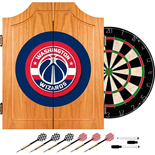 NBA Washington Wizards Wood Dart Cabinet Set by Trademark Gameroom