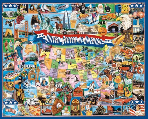 (White Mountain Puzzles United States of America - 1000 Piece Jigsaw Puzzle)
