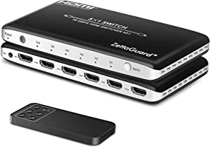 Zettaguard 4K 60Hz 5 Port 5 x 1 HDMI Switch with IR Remote Control HDMI 2.0 Switcher Support 18Gbps 4K x 2K 3D HDCP 2.2 HDMI Splitter Hub Port Switches for PS4 Xbox Apple TV Fire Stick Blu-Ray Player