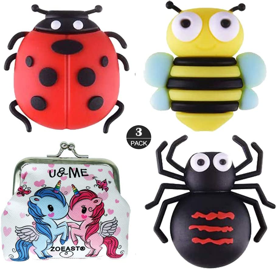ZOEAST(TM) Cartoon Animal Fruits Cable Protector USB Charger Saver Charging Data Line Earphone Bite Organizor Compatible with All iPhone iPad iPod and Android Phones (Beatles Bee Spider)