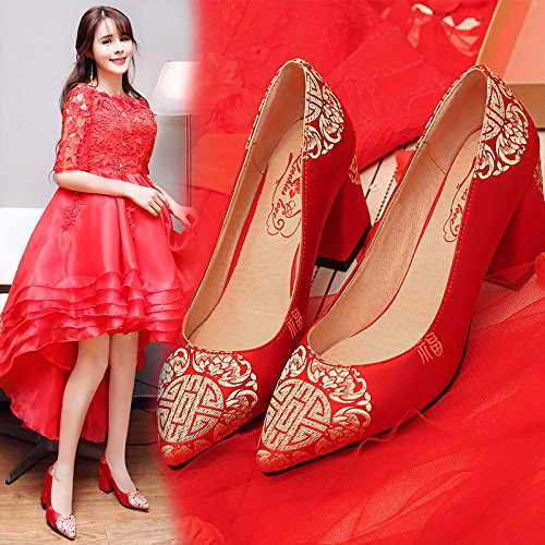 Winter VIVIOO Wedding Wedding Shoes High 7 Embroidered Chinese Heel Sandals Heeled Prom Shoes Show Red Bride 5Cm Shoes Toast 9 rqfnq4IFw