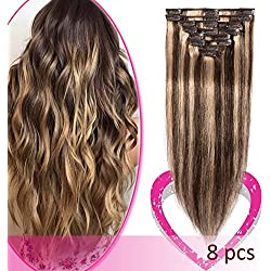 "14"" Remy Clip in on Hair Extensions Remy Human Hair Highlight Standard Weft 60g 8 Pcs 18 Clips Thick Soft Silky Straight Hair for Women Beauty Gift #4/27 Medium Brown Mix Dark Blonde"