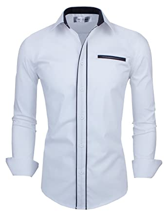 Tom's Ware Mens Premium Casual Inner Contrast Dress Shirt at ...