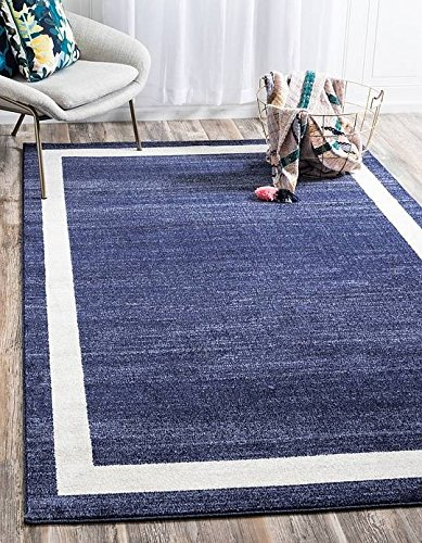 Unique Blue Border (Unique Loom Del Mar Collection Navy Blue 8 x 11 Area Rug (8' x 11' 4