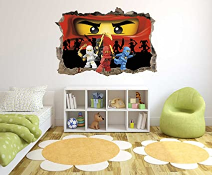Ninjago Spinjitzu Master Series - 3D Smashed Wall Effect - Wall Decal for Home Nursery Decoration