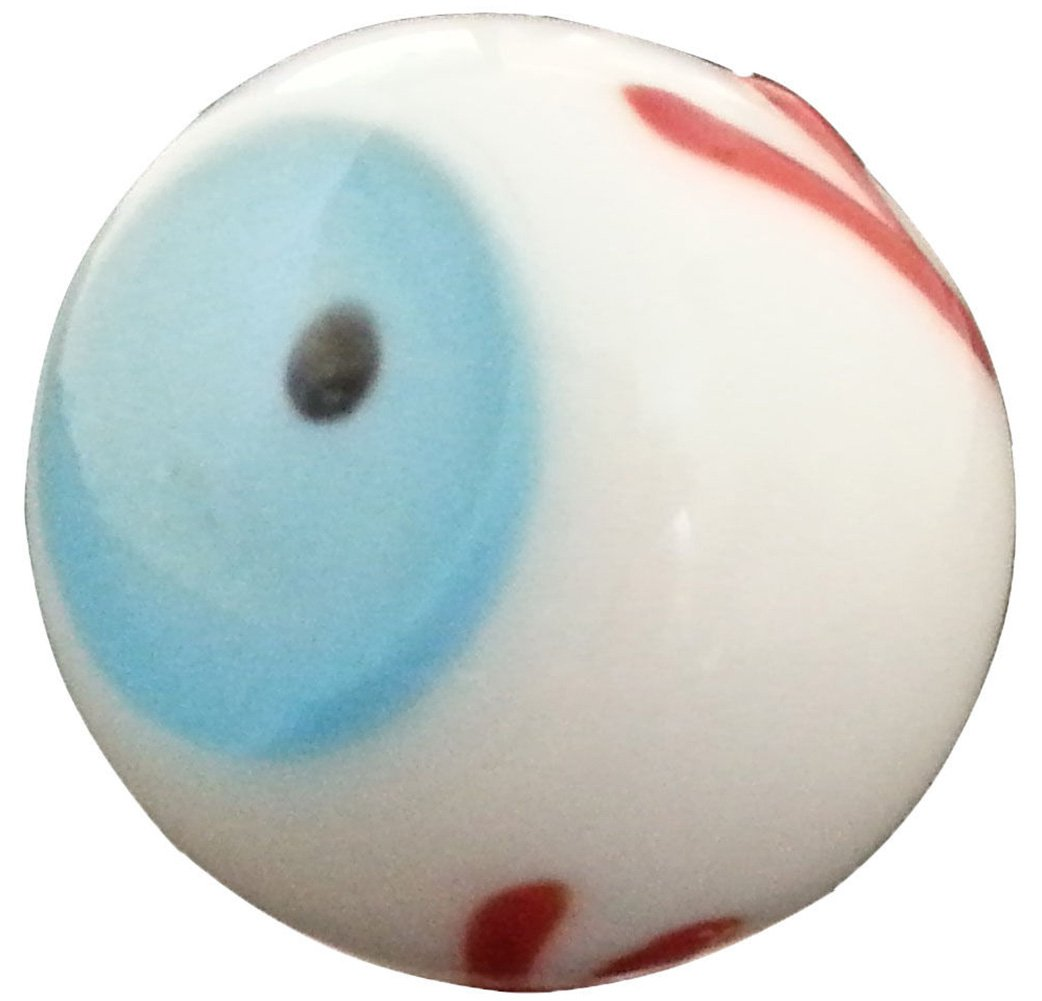 "Unique & Custom {13/16'' Inch} Set Of 50 Big ""Round"" Opaque Marbles Made of Glass for Filling Vases, Games & Decor w/ Comedic Diverse Blood Shot Eye Ball Design [Blue, White, Red, Black & Brown Color]"