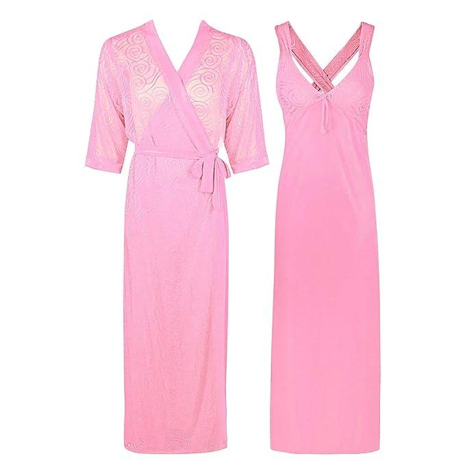 Women Satin Silk Nightdress Lace Lingerie Sleepwear Long Dress Robe Gown Nightie