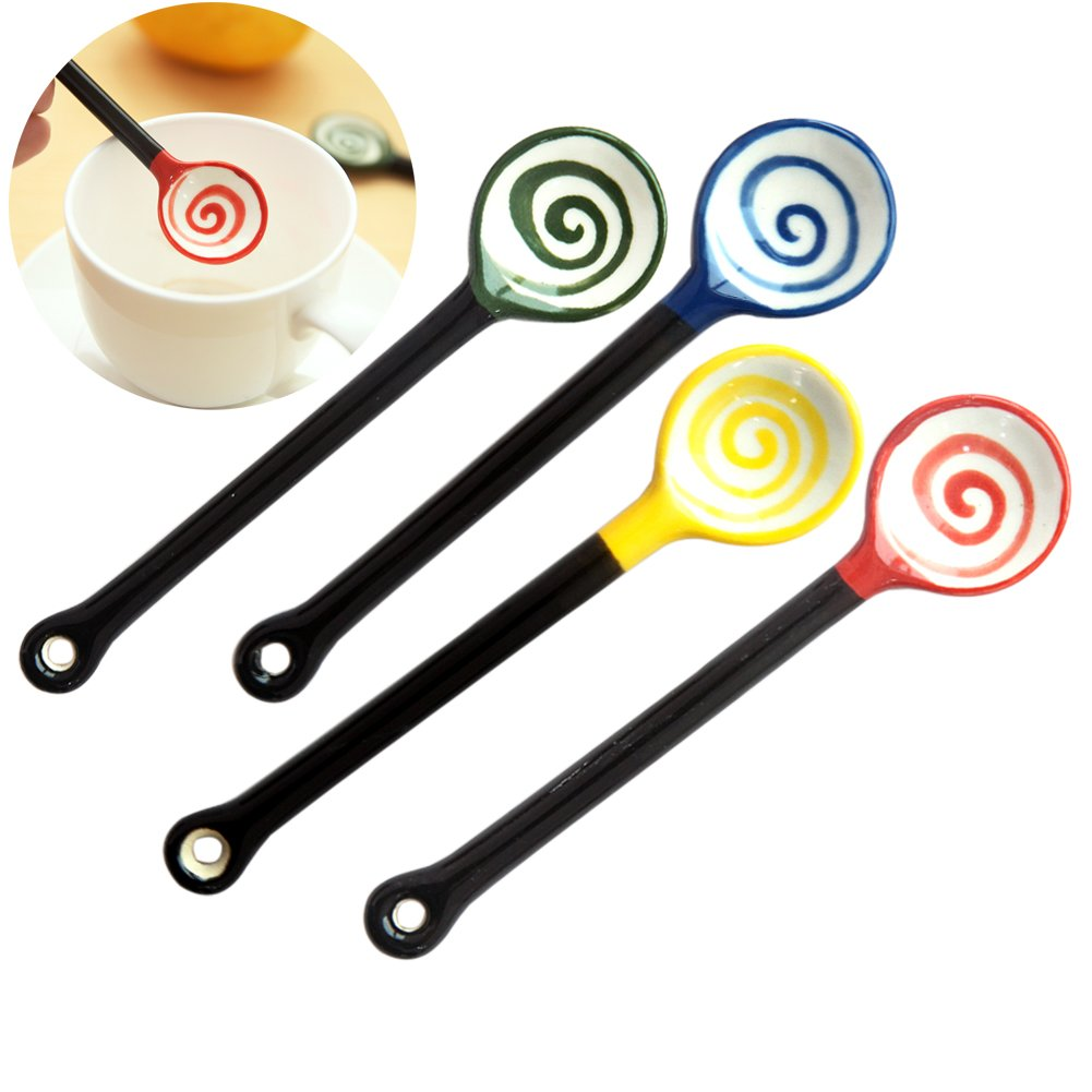 Ibnotuiy Set of 4 Creative Colorful Ceramic Lollipop Spoons Mini Spoon for Coffee/Dessert/Milk in Bar Home Office