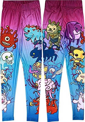 Dungeons & Dragons Chibi Style Women's Sublimated Leggings, Large by Mighty Fine