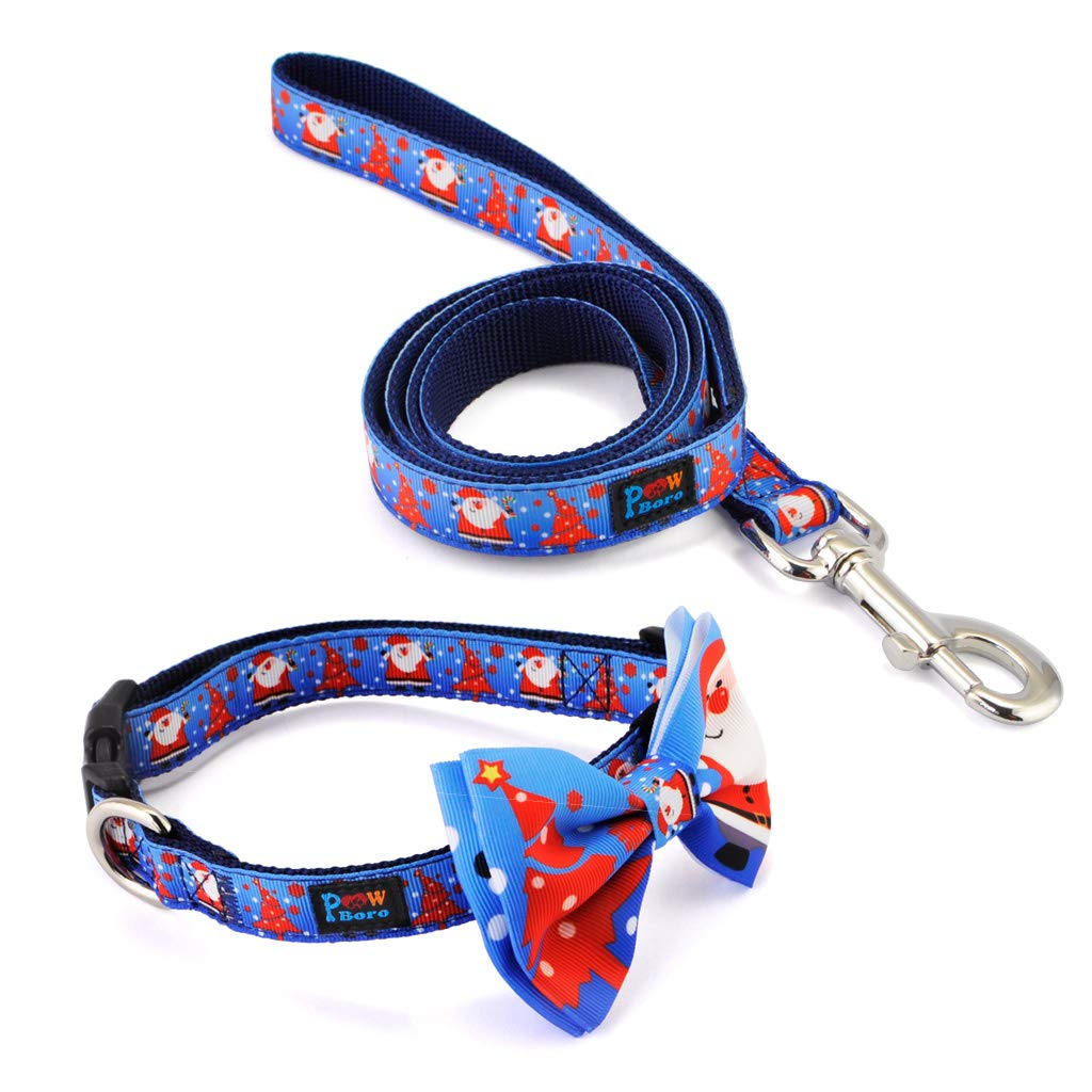 bluee Santa Claus PowBgold Pet Dog Cat Collar with Bowtie & Handle Leash Comb Set, Adjustable Handmade Cotton Bow Tie, Christmas Xmas Gift Festive for Walking Running in Small Medium Dogs Cats (bluee Santa Claus)