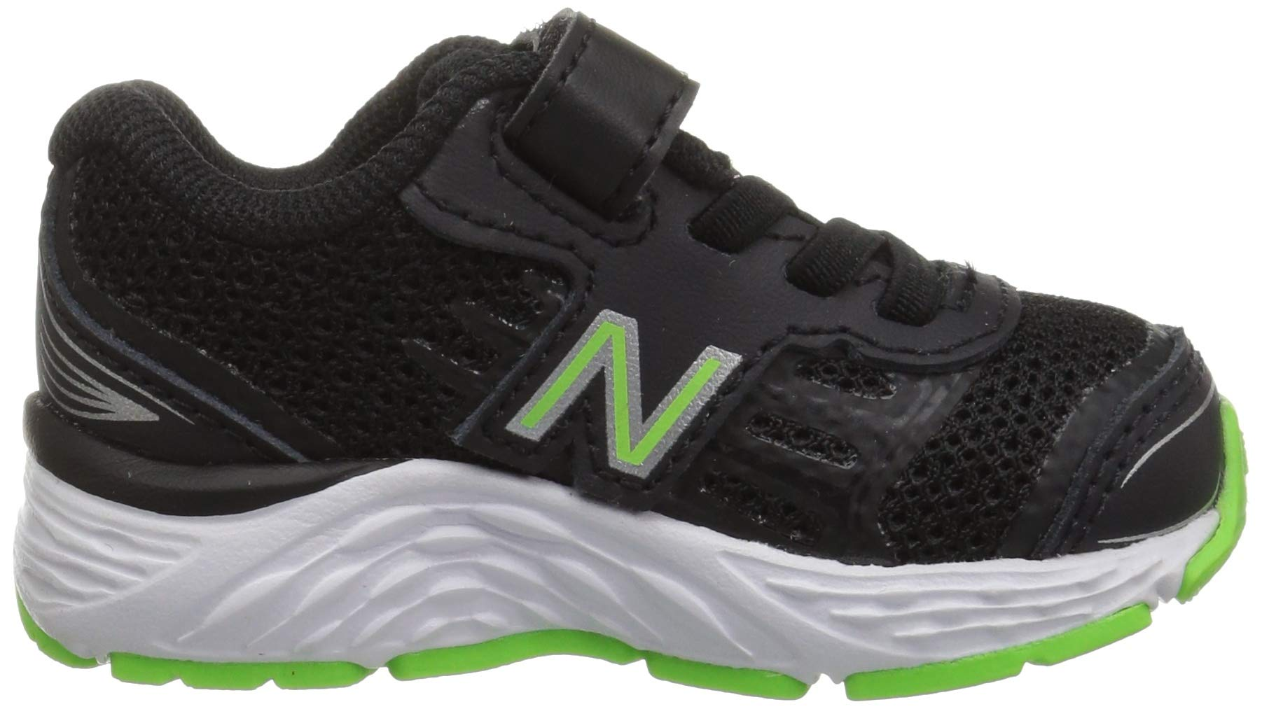 New Balance Boys' 680v5 Hook and Loop Running Shoe Black/RBG Green 2 M US Infant by New Balance (Image #7)