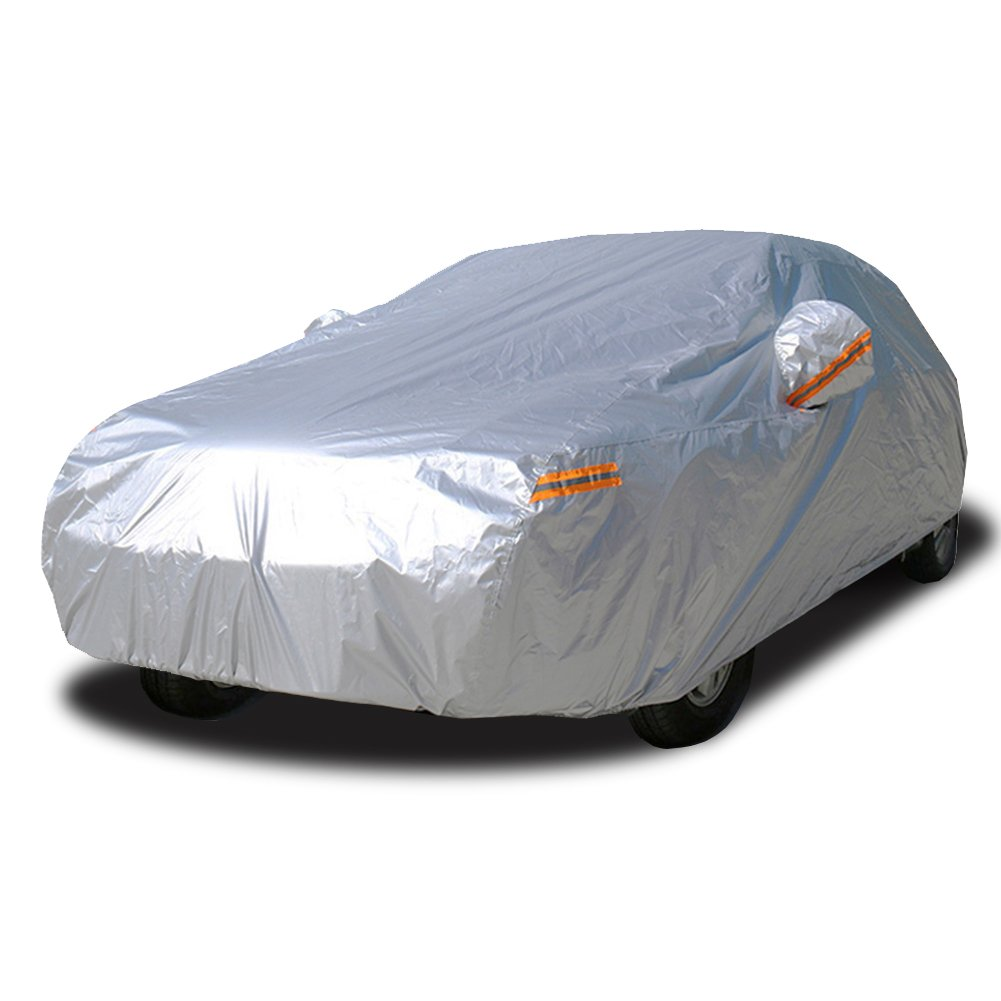 Kayme Car Covers for Automobiles Waterproof All Weather Sun Uv Rain Protection with Zipper Mirror Pocket Fit Sedan (162 to 173 Inch) 3M