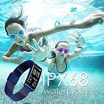 IP68 Waterproof Fitness Tracker Watch Activity Fitness Watch with Heart Rate Monitor,Sleep Monitor,Blood Pressure Measure,Swimming Smart Pedometer Step Distance Calories Track,Camera Control (Blue)