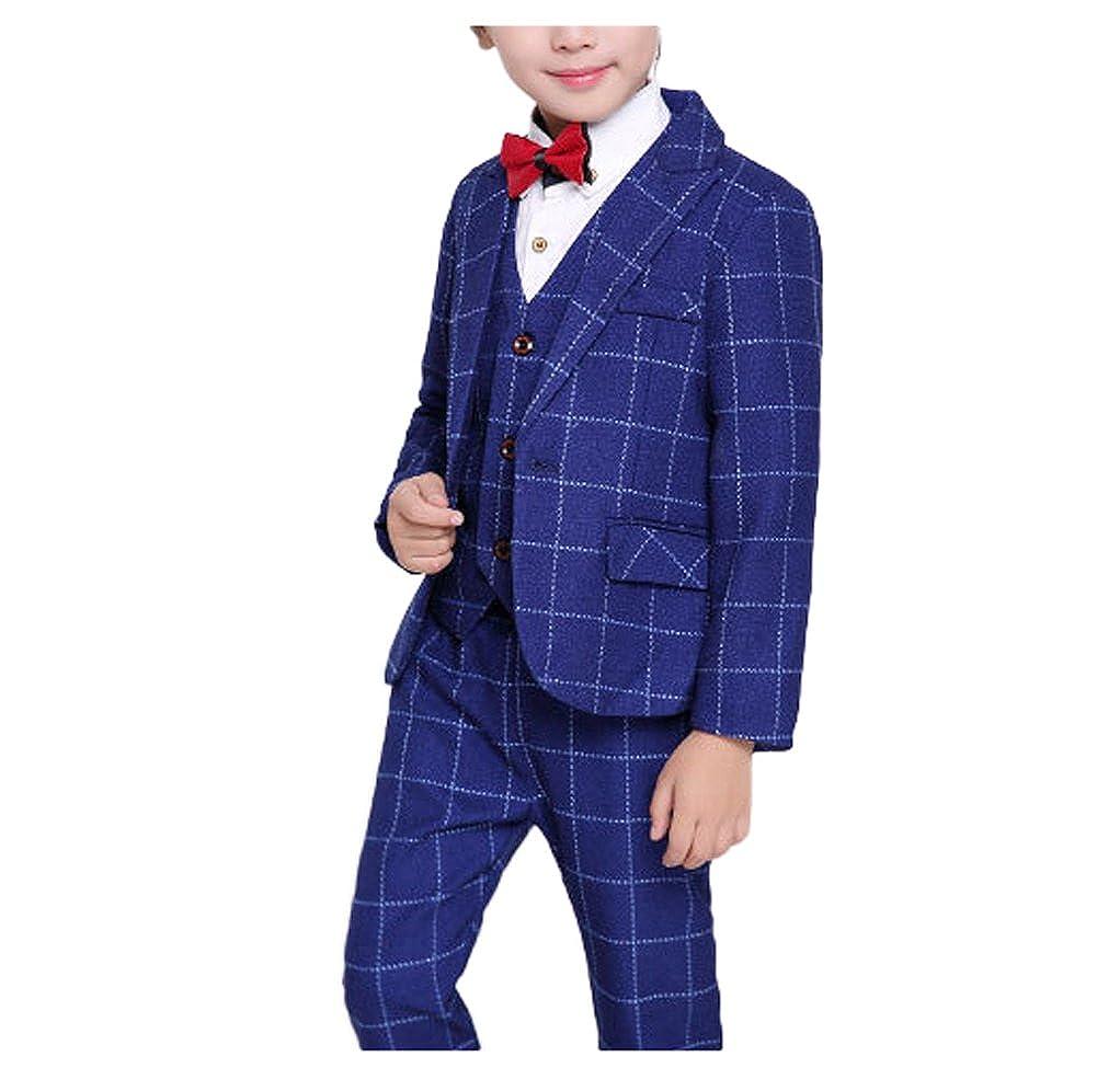 Boys Black Blue Red 3 Colors Plaid Suits 3 Pieces Jacket Vest and Pants Set