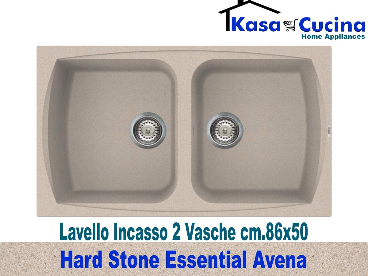 Lavello incasso cucina Hard Stone Essential Fragranite 2 Vasche cm.86X50 Granito Avena Kasa Cucina Home Appliances