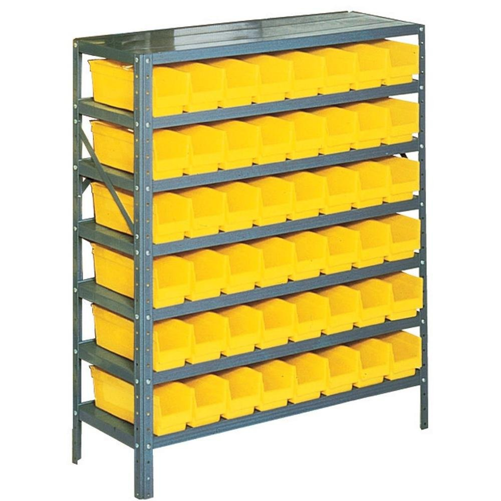Edsal 42 in. H x 36 in. W x 12 in. D Plastic Bins/Small Parts Steel Gray Storage Rack with 48 Yellow Bins by Edsal Product