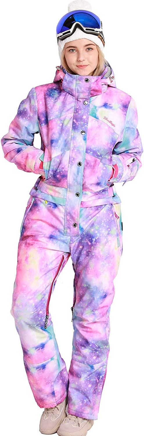 Bluemagic Women's One Pieces Ski Suits Jumpsuits Coveralls Winter Outdoor Waterproof Snowsuits for Snow Sports